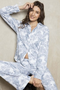 Pebble Palm 100% Brushback Cotton PJ Set